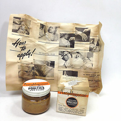 Vintage ANTIPHLOGISTINE JAR Medicated POULTICE Dressing Apothecary Pharmacy