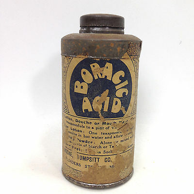 Vintage BORACIC ACID TIN Apothecary Pharmacy