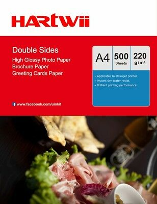 100 Sheets + 20 Free A4 220Gsm Double Sides High Glossy Photo Inkjet Paper Print