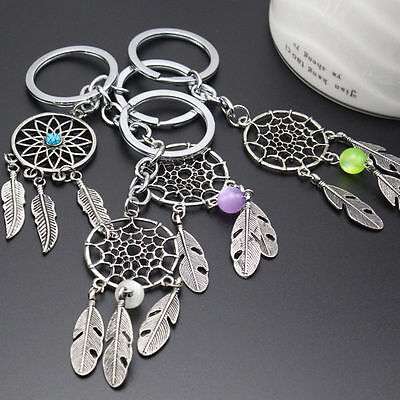Dream Catcher Bead Feather Tassels Charm Pendant Keyring Keychain Key Ring 1pc