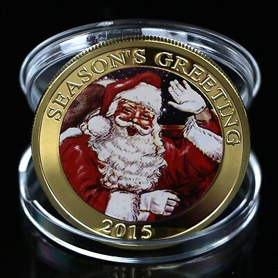 New Gold Plated Round Merry Christmas Santa Claus Commemorative Coin Collection