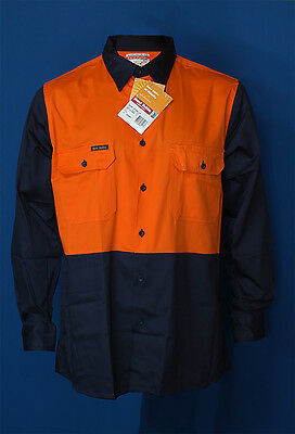 Hard Yakka Y07115 day compliant hi-vis cotton L / S work shirt or/ navy new