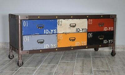 Chest Of 6 Drawers On Wheels Industrial Retro Urban  Multicolour Loft Rtv