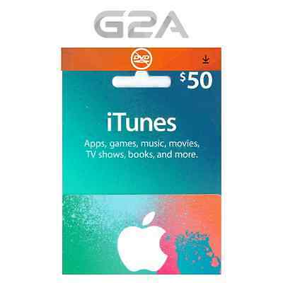 iTunes $50 USD Gift Card - 50 US Dollars USA Apple Store Code - Apple iTunes Key