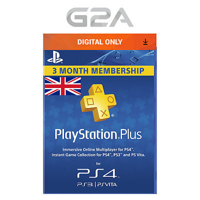 Playstation Plus 90 Days UK Card - PSN 90 Days Code- 3 Month Membership SONY Key