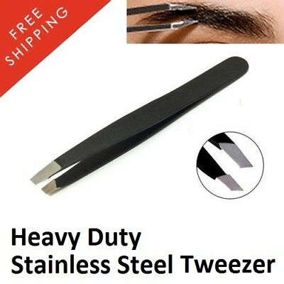 New Eyebrow Tweezers Hair Beauty Slanted Puller Stainless Tip Steel Tweezer Tool