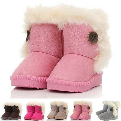 Winter Warmer Furry Girls Boys Kids Soft Snow Boot Booties Ankle Boots Shoes