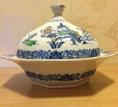 """Booths - Pagoda Blue & White 9 1/4"""" Covered Vegetable Serving Dish / Tureen #1"""