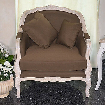 French Armchair 1-Seater Vintage Retro Brown Fabric Settee White Carved Wood