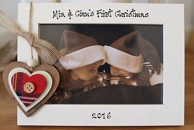 Personalised Photo Frame by Filly Folly! Twins First 1st Christmas Gift!