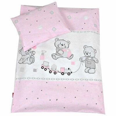 Baby Bedding Set PILLOWCASE + DUVET COVER 2PC to Fit Crib /Cot /Cot bed /3 Sizes