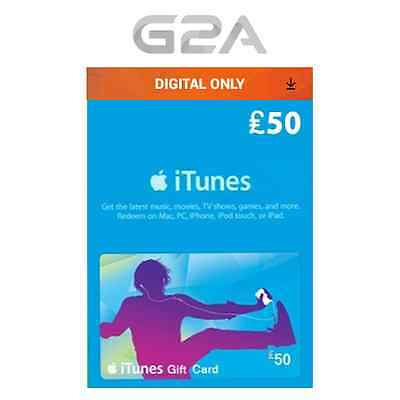iTunes Gift Card 50 GBP Apple iTunes Code £50 Pound [UK] Music Apps Movies &more