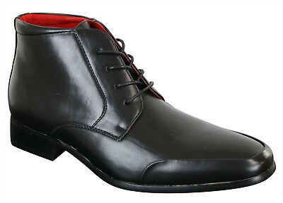 Mens Boys New Black Leather Lined Rossellini Lace Up Formal Casual Boots UK 6-12