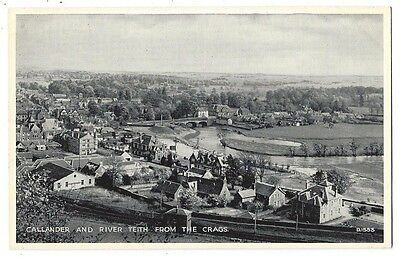 CALLANDER and River Teith from the Crags, RP Postcard by Valentine , Unused