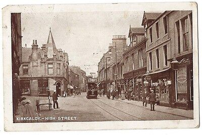 KIRKCALDY High Street, Old Postcard by Woolstone, Postally Used c1916