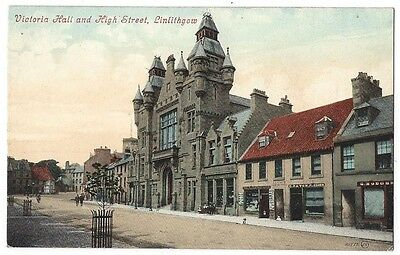 LINLITHGOW Victory Hall and High Street, Old Postcard by Valentine Unused