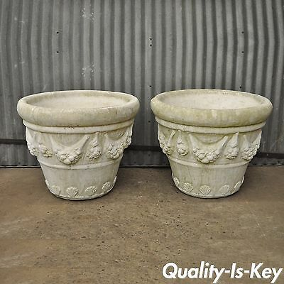 "Pair of 22""H x 28"" 1988 Pinellas Cast Stone Cement Round Garden Planters Vtg"