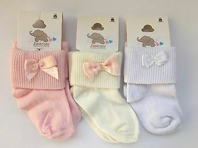 Baby girls fancy bow socks 3 pairs Pink White & ivory 90% Cotton 0 to18 months