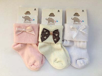 Baby girls fancy bow socks 3 pairs White Pink & ivory 90% Cotton 0 to18 months