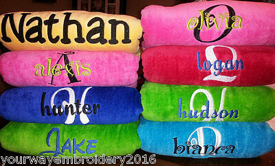 LOT of 8 Personalized Embroidered beach towels - bridal party birthday vacation
