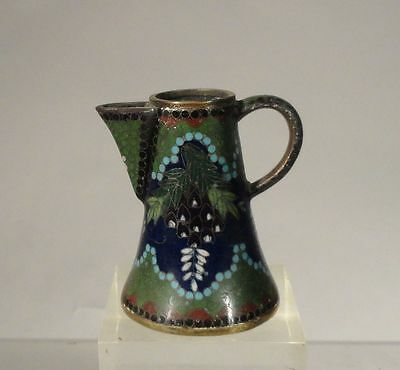 Antique Japanese Cloisonne Miniature Pitcher Chocolate Pot Wysteria Butterfly