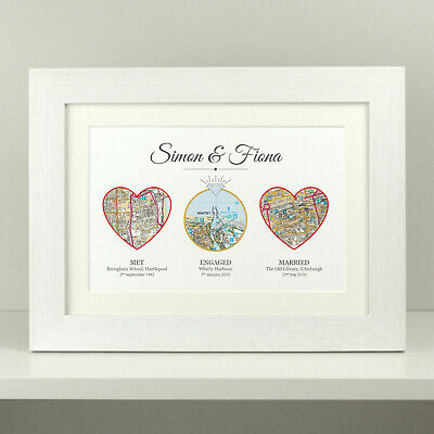 Wedding gift / anniversary present personalised met engaged married OS map VA057
