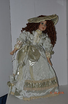 """Tuss~2002~Allure 30"""" Porcelain Doll~Wood Stand~William Tung~COA 507/1000~In Box"""