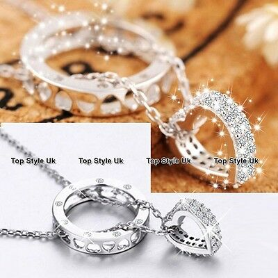 Ring Heart Necklace Pendant Silver Chain Jewellery Women Gifts for Girls Mum C3
