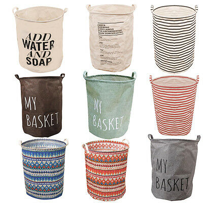 Foldable Cotton Linen Washing Clothes Laundry Basket Bag Hamper Storage NEW