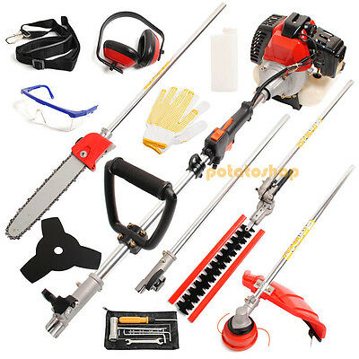 Garden Hedge Trimmer 5 in 1 Petrol Strimmer Brushcutter Chainsaw 52cc Long Reach