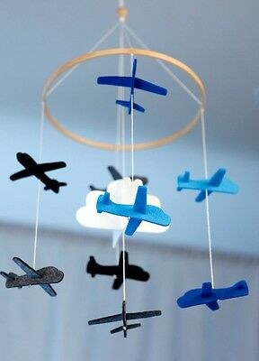 Baby Blue Airplane Mobile for Crib or Nursery Boy Etsy Cloud Plane hanging