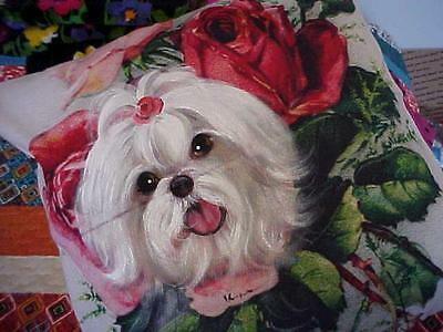 Maltese Handpainted Pillow