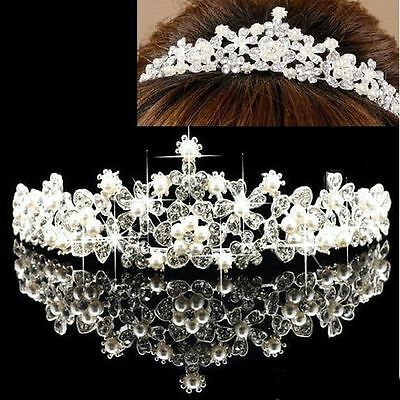 Bridal Flower Prom Wedding Pageant Veil Crystal Rhinestone Pearl Crown Tiara