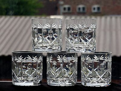 """Brierley Hill Crystal """"cross & Hollow"""" Pattern Whisky Tumblers Set Of 5"""