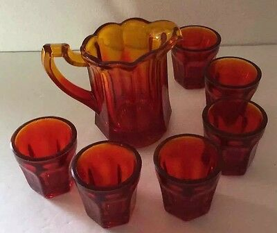 PRESSED GLASS Miniature Pitcher w/ 6 Matching Cups Red Flame Shot Vintage #102