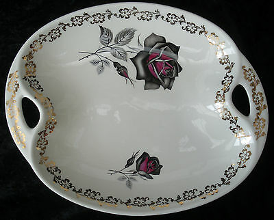 Vintage Retro Lord Nelson Pottery Oval Handled Sandwich Plate Roses Chintz 60s