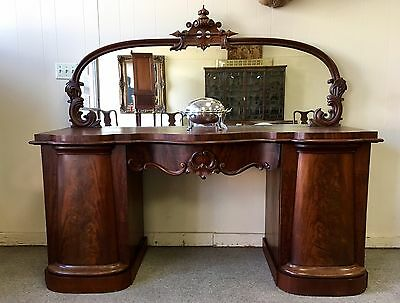 Rococo Carved Mahogany Pedestal Sideboard with Mirror