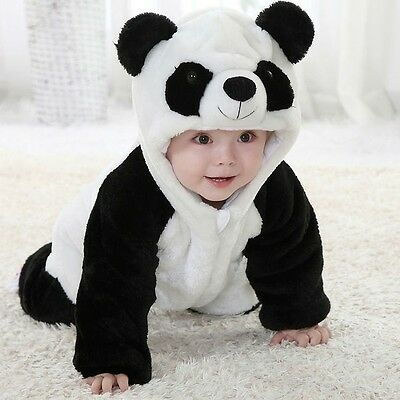 New Infant Panda Animal Flannel Overall Rompers Baby KidsJump Suit Winter Plush