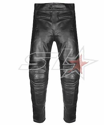 New Mens Black CE Armoured Biker Real Leather Trousers Motorbike Jeans Pants