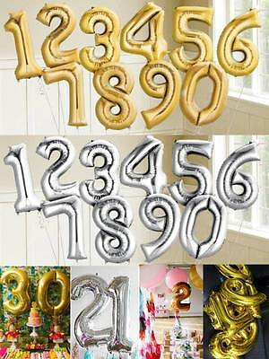 44cm Gold Silver Number Foil Balloon Birthday Wedding Party New Years 1234567890