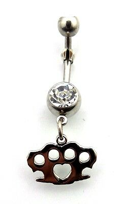 Brass Knuckles Charm Dangle Belly Button Ring Clear CZ Gem Surgical Steel 316L