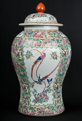 China 20. Jh. Deckelvase -A Chinese Canton Style Porcelain Vase - Cinese Chinois