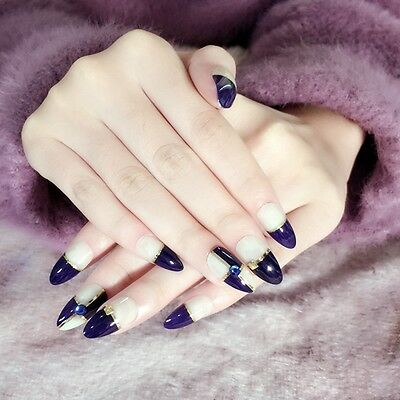 Pointed Artificial False Nails Rhinestones Press-on Nails Blue French Nail Z259