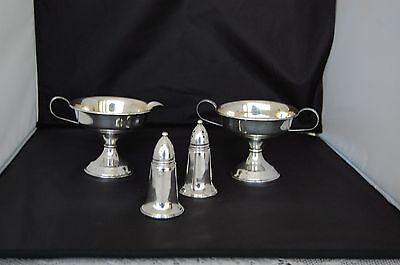 STERLING SILVER  GOLD WASH R S  Co. CREAM AND SUGAR  + STERLING OVER GLASS S +P