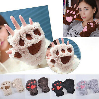 Women Girls Cat Claw Bear Paw Style Winter Plush Half Finger Warm Gloves Mittens