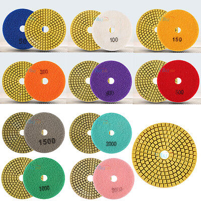 "100mm 4"" Wet/Dry Diamond Polishing Pads Grinding Disc for Granite Marble Stone"