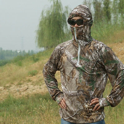 Summer Hooded Long Sleeved T-shirt Breathable Bionic Camouflage Fishing Clothes
