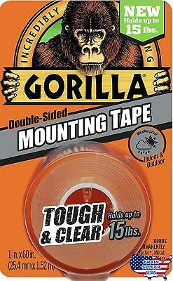"Gorilla Tough & Clear Mounting Tape, Double-Sided, 1"" x 60"", Clear, New"
