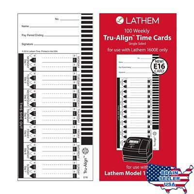 Lathem Weekly Tru-Align Time Cards, Single Sided for Use with Lathem 1600E Time