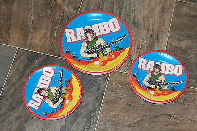 NOS New Vintage 1985 Rambo HTF Paper Plates 24 Total Large & Cake Size